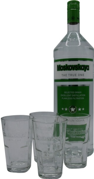 Moskovskaya Premium Vodka 3l Geschenkset mit 4 Gläsern