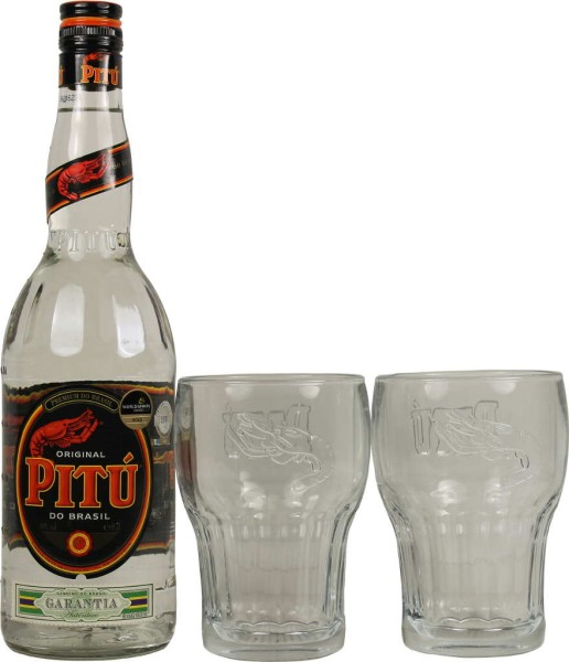 Cachaca Pitu 0,7l mit 2 Gläsern