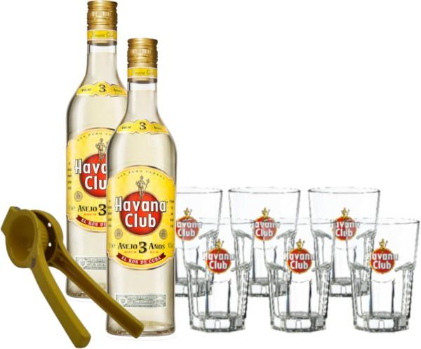 Havana Club 3 Jahre 2x 0,7 Liter mit 6 Gläsern & Limettenpresse