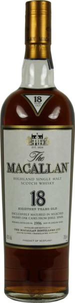 The Macallan Whisky Sherry Oak 18 Jahre 0,7l