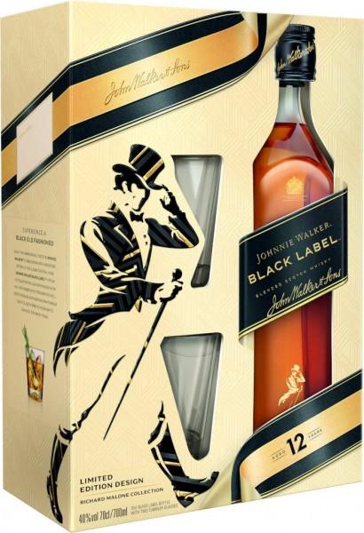 Johnnie Walker Whisky Black Label 12 Jahre in Geschenkverpackung