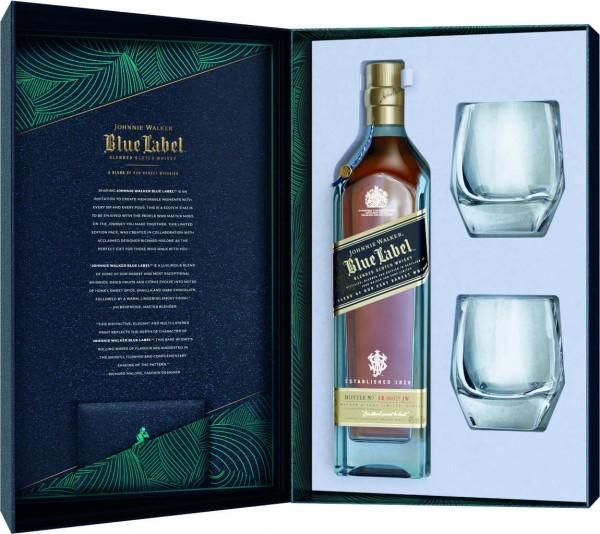 Johnnie Walker Whisky Blue Label 0,7l in Geschenkbox mit zwei Gläsern