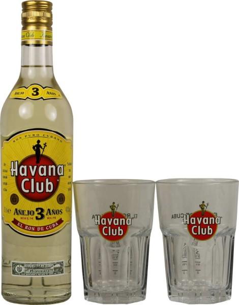 Havana Club 3 Jahre 0,7l mit 2 Cocktailgläsern
