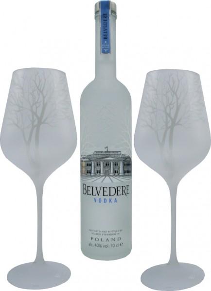 Belvedere Vodka 0,7l mit 2 Belvedere Gläsern