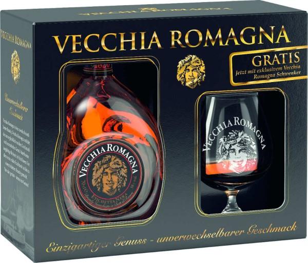 Vecchia Romagna 0,7 l in Geschenkpackung mit exklusivem Schwenker