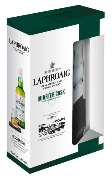 Laphroaig Whisky Quarter Cask 0,7l mit Glas und Schieferuntersetzer