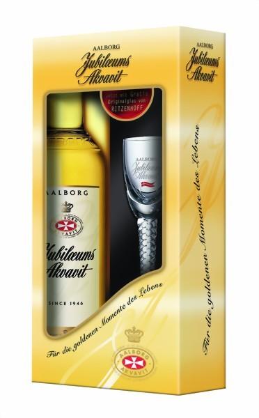 Aalborg Jubiläums Akvavit 0,7 Liter in Geschenkpackung mit original Glas