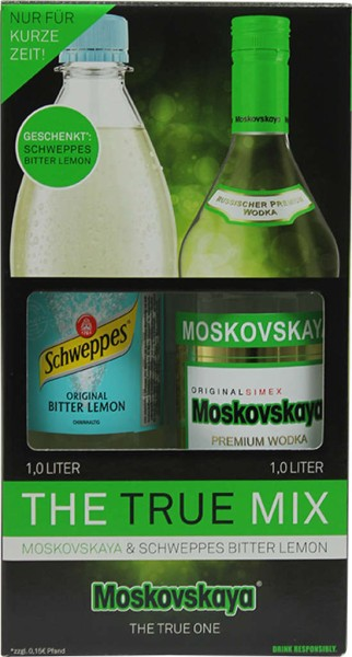 Moskovskaya The True Mix + Schweppes Lemon