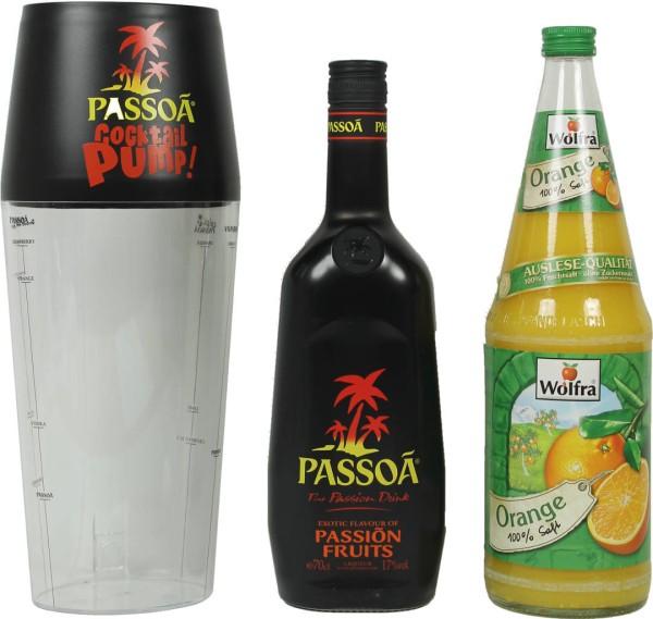Passoa Partypack mit Wolfra O-Saft 1 Liter