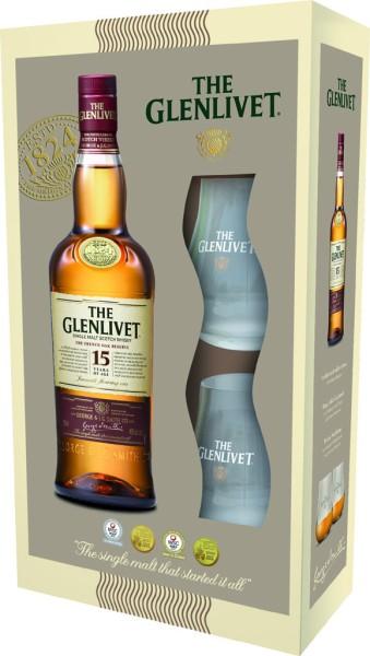 Glenlivet 15 yrs Geschenkset mit 2 Gläsern