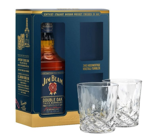 Jim Beam Whiskey Double Oak 0,7l mit 2 Gläsern