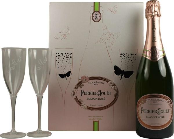 Perrier Jouet Champagner Blason Rose 0.75 l mit 2 Gläser