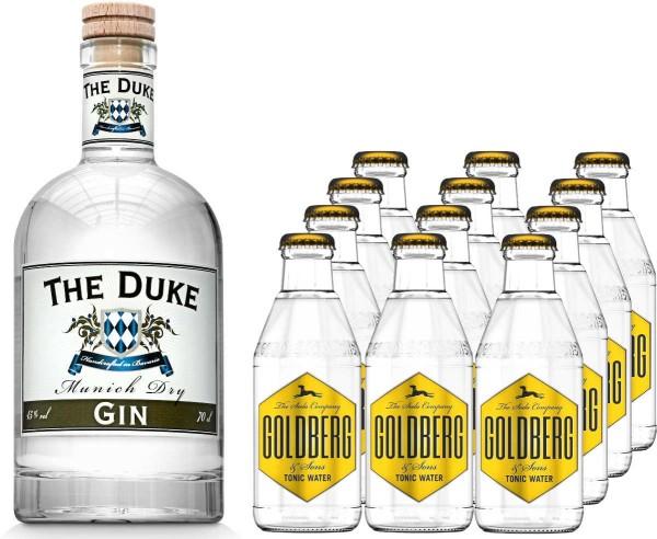 The Duke Gin 0,7l mit 12x Goldberg Tonic Water 0,2 Liter