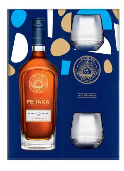 Metaxa 12 Sterne in Geschenkpackung mit 2 Gläsern
