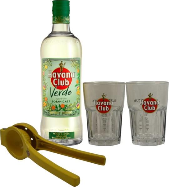Havana Club Verde 0,7 Liter mit 2 Cocktailgläsern und einer Limettenpresse