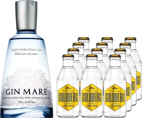 Gin Mare 0,7l mit 12x Goldberg Tonic Water 0,2l