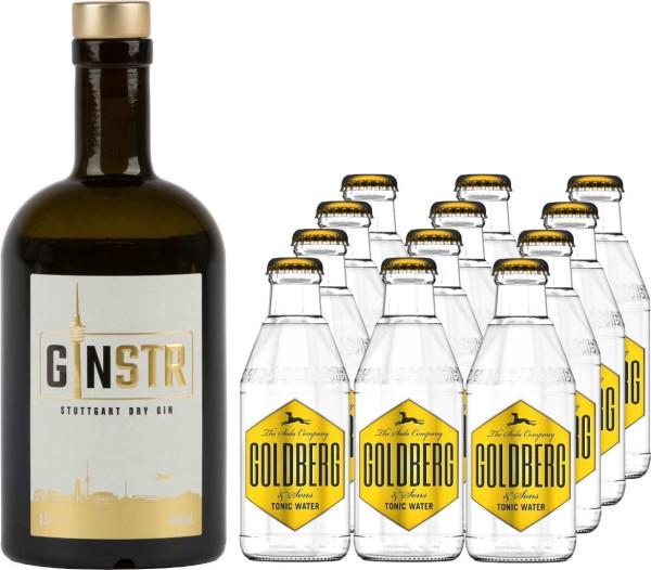 Ginstr 0,5l mit 12x Goldberg Tonic Water 0,2l
