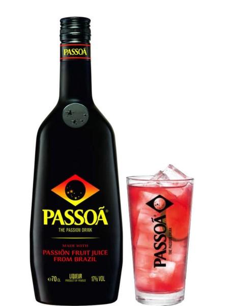 Passoa Maracuja Likör 0,7l mit Longdrinkglas