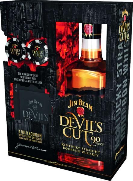 Jim Beam Devils Cut 0,7 l in Geschenkpackung mit Pokerset