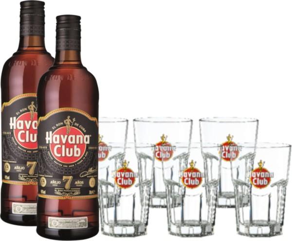 Havana Club 7 Jahre 2x 0,7 Liter mit 6 Gläsern