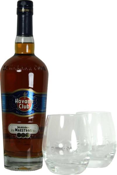 Havana Club Seleccion de Maestros 0,7 Liter mit 2 Gläsern