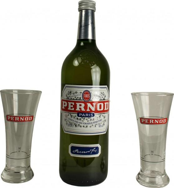 Pernod 1 Liter mit 2 Gläsern